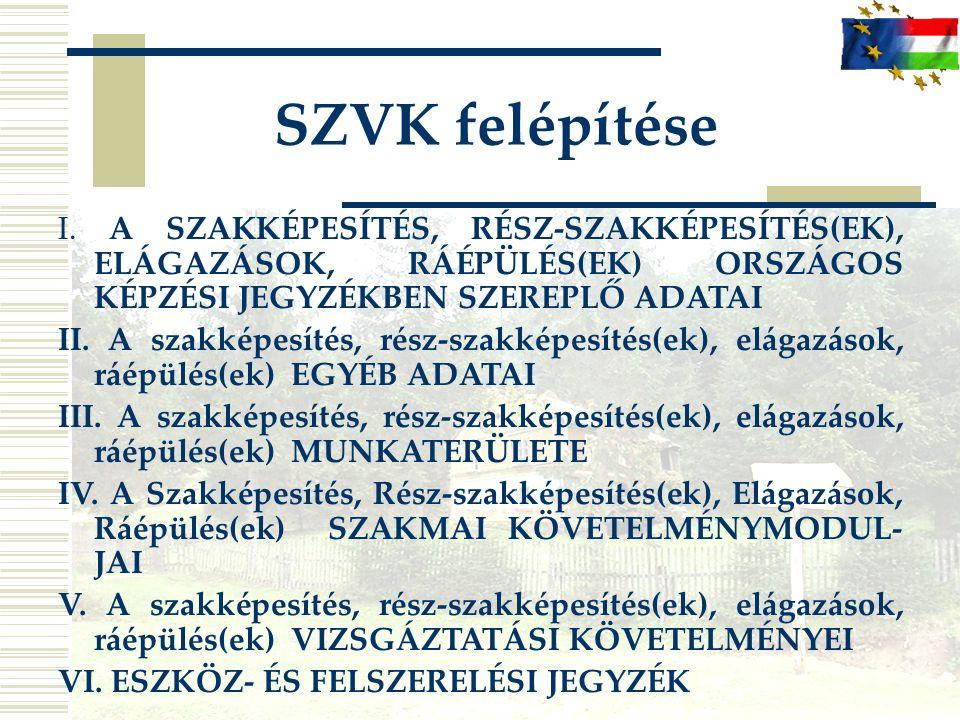 SZVK felépítése I. A SZAKKÉPESÍTÉS, RÉSZ-SZAKKÉPESÍTÉS(EK), ELÁGAZÁSOK, RÁÉPÜLÉS(EK) ORSZÁGOS KÉPZÉSI JEGYZÉKBEN SZEREPLŐ ADATAI II. A szakképesítés,