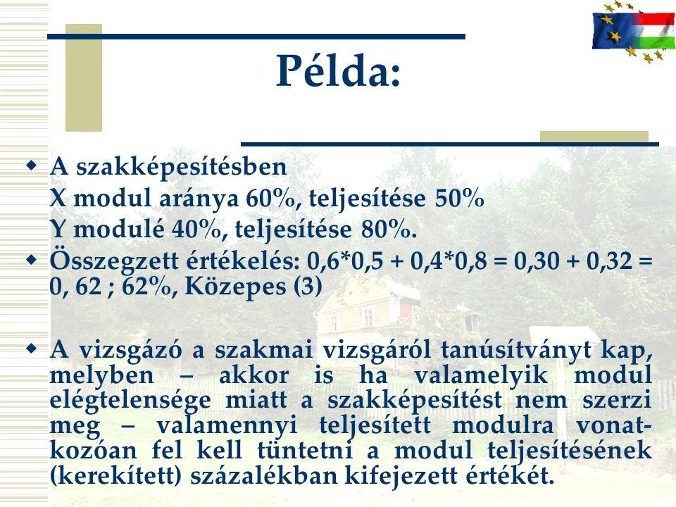 Példa:  A szakképesítésben X modul aránya 60%, teljesítése 50% Y modulé 40%, teljesítése 80%.  Összegzett értékelés: 0,6*0,5 + 0,4*0,8 = 0,30 + 0,32