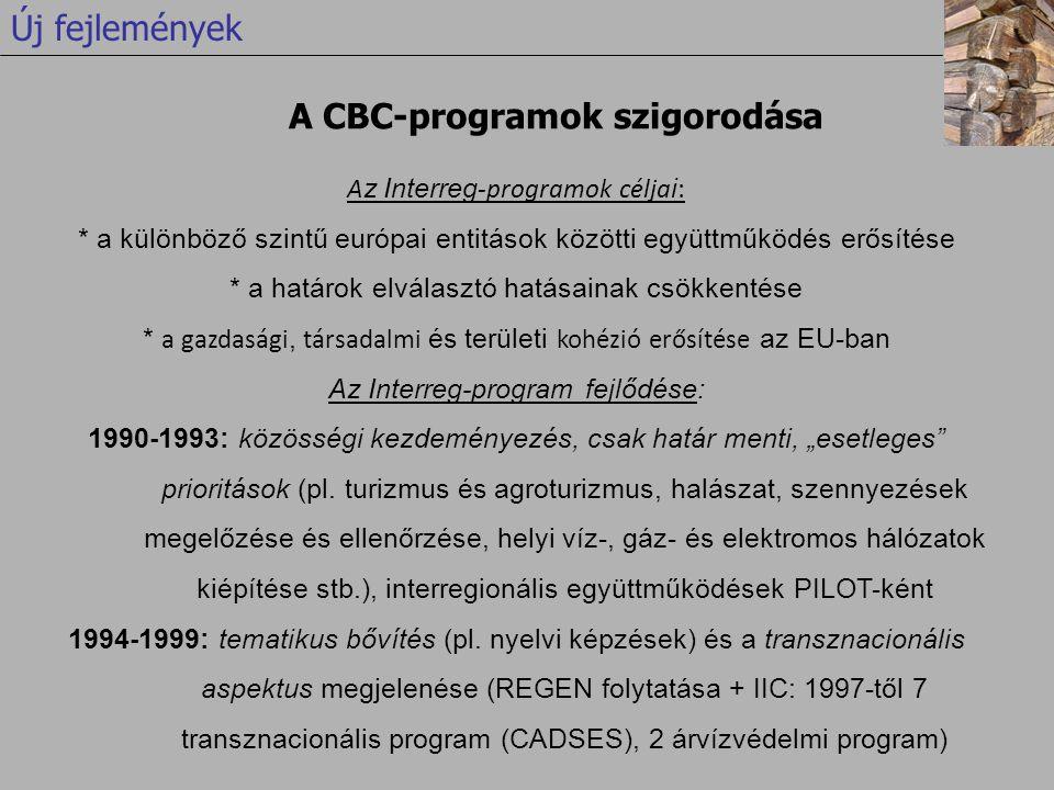 """A z Interreg -programok célja i : * a különböző szintű európai entitások közötti együttműködés erősítése * a határok elválasztó hatásainak csökkentése * a gazdasági, társadalmi és területi kohézió erősítése az EU-ban Az Interreg-program fejlődése: 1990-1993: közösségi kezdeményezés, csak határ menti, """"esetleges prioritások (pl."""