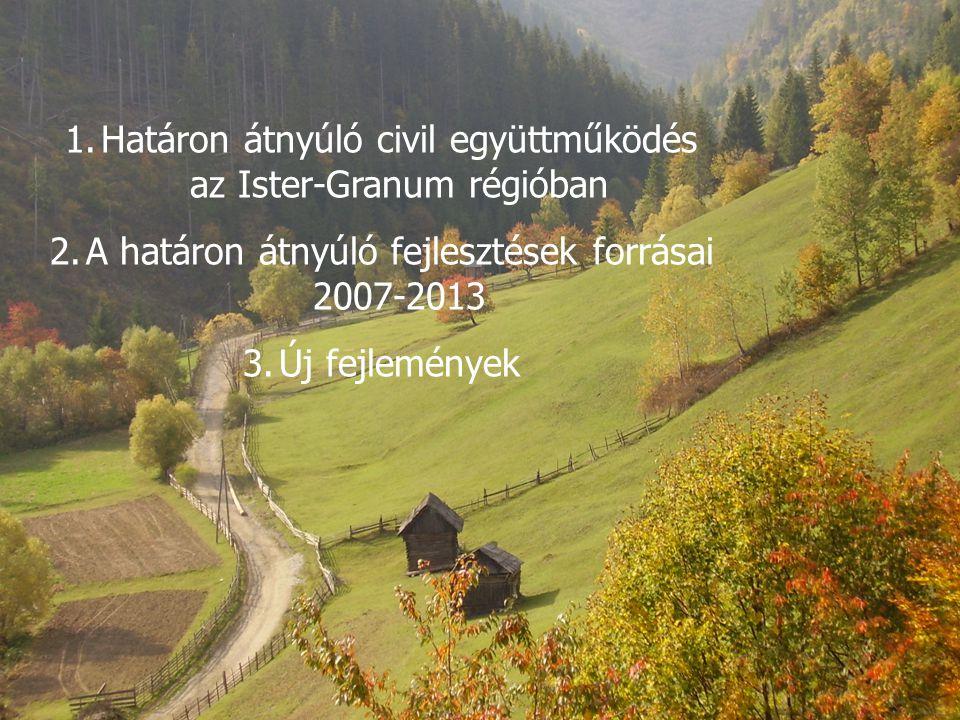 1.Határon átnyúló civil együttműködés az Ister-Granum régióban 2.A határon átnyúló fejlesztések forrásai 2007-2013 3.Új fejlemények