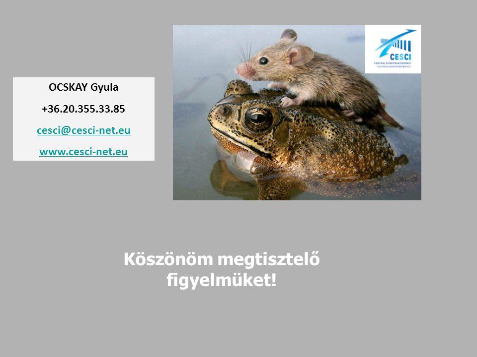 Köszönöm megtisztelő figyelmüket! OCSKAY Gyula +36.20.355.33.85 cesci@cesci-net.eu www.cesci-net.eu