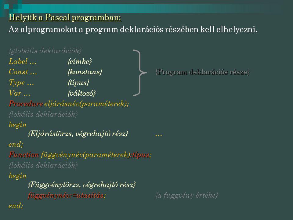 Helyük a Pascal programban: Az alprogramokat a program deklarációs részében kell elhelyezni. {globális deklarációk} Label …{címke} {Program deklaráció