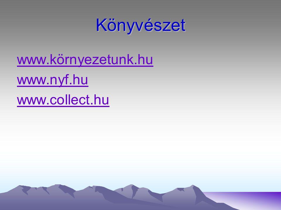 Könyvészet www.környezetunk.hu www.nyf.hu www.collect.hu