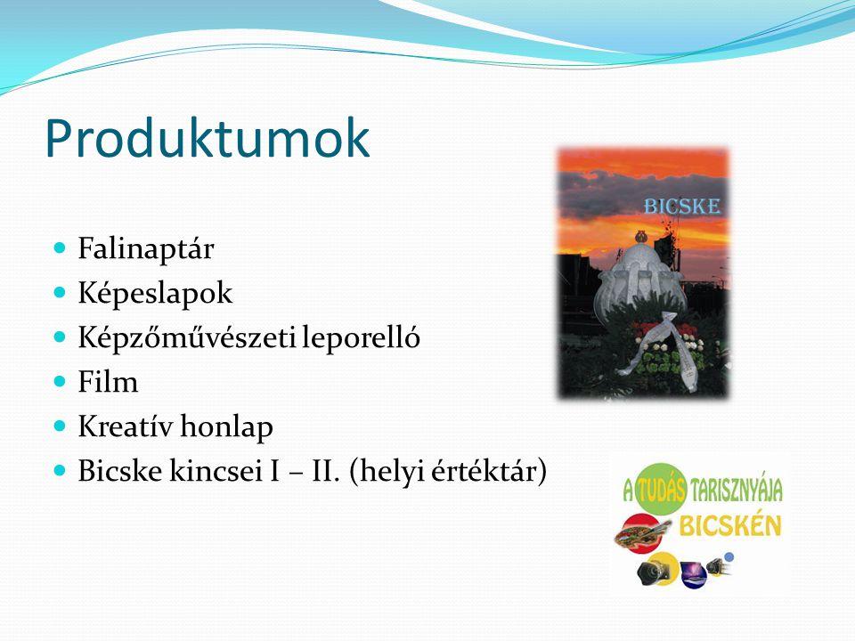 Produktumok  Falinaptár  Képeslapok  Képzőművészeti leporelló  Film  Kreatív honlap  Bicske kincsei I – II. (helyi értéktár)
