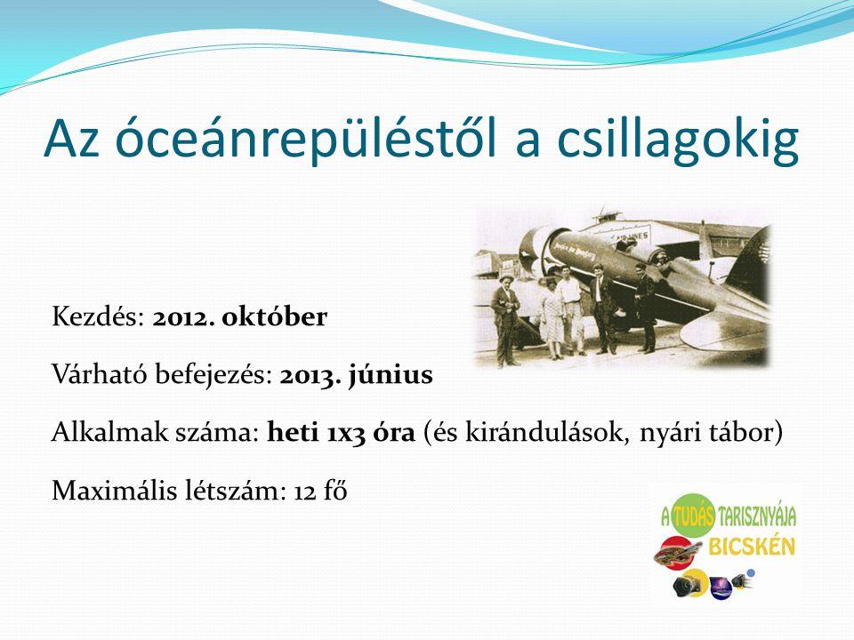 Az óceánrepüléstől a csillagokig Kezdés: 2012. október Várható befejezés: 2013. június Alkalmak száma: heti 1x3 óra (és kirándulások, nyári tábor) Max
