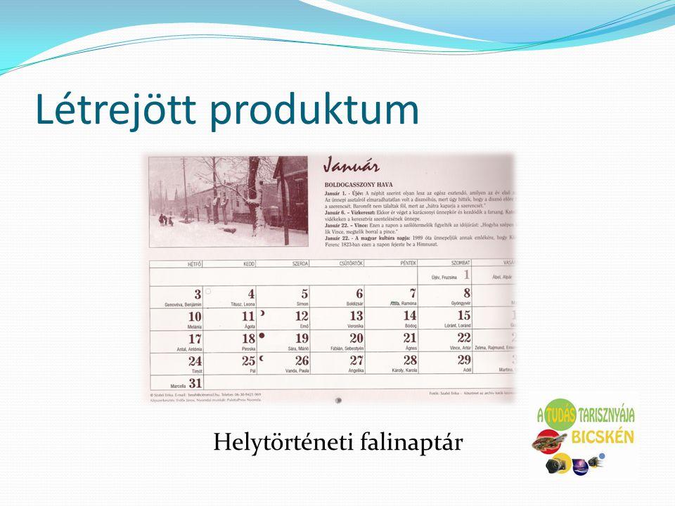 Létrejött produktum Helytörténeti falinaptár