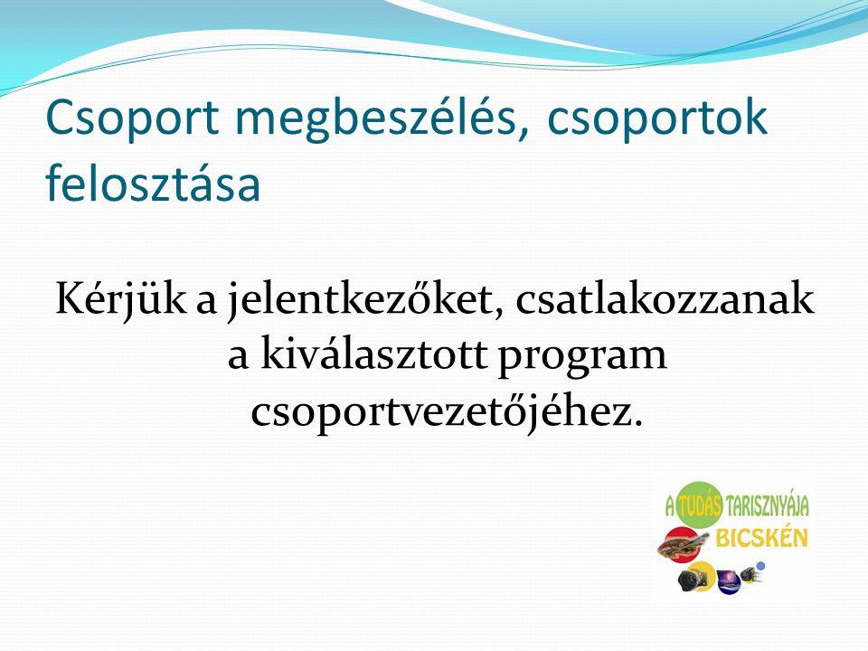 Csoport megbeszélés, csoportok felosztása Kérjük a jelentkezőket, csatlakozzanak a kiválasztott program csoportvezetőjéhez.
