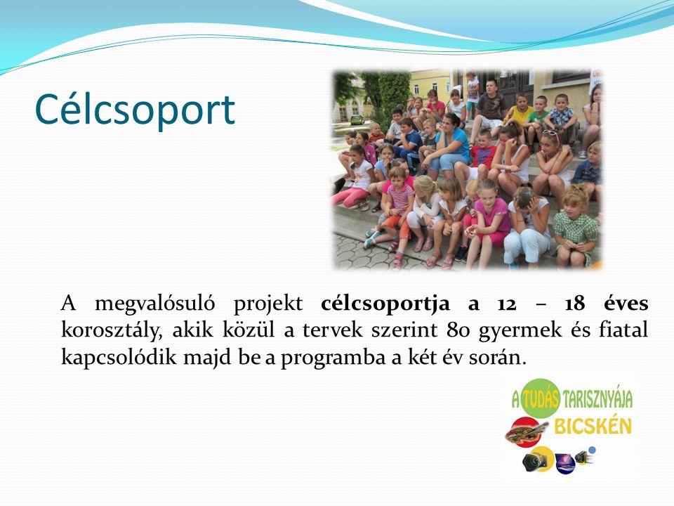 Célcsoport A megvalósuló projekt célcsoportja a 12 – 18 éves korosztály, akik közül a tervek szerint 80 gyermek és fiatal kapcsolódik majd be a progra