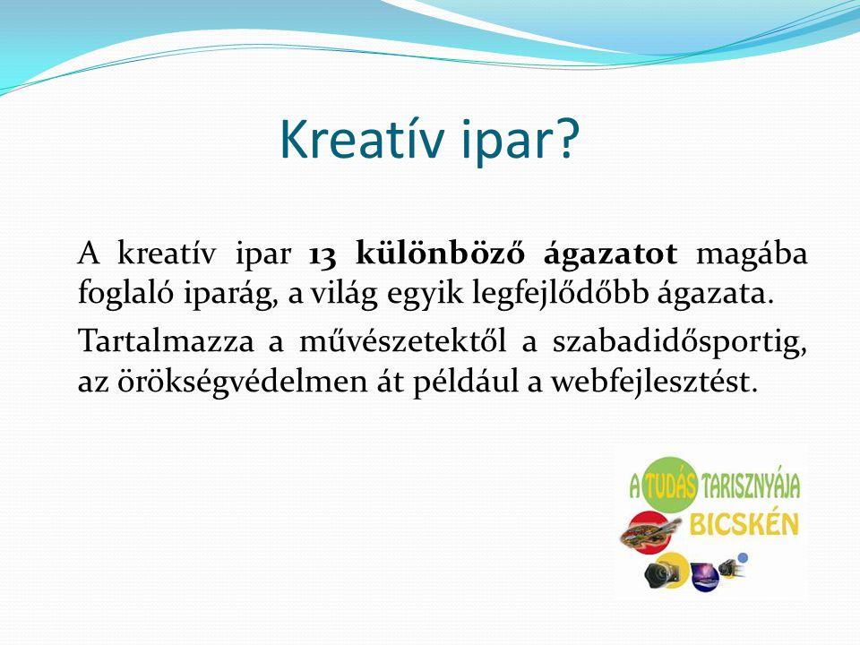 Kreatív ipar? A kreatív ipar 13 különböző ágazatot magába foglaló iparág, a világ egyik legfejlődőbb ágazata. Tartalmazza a művészetektől a szabadidős