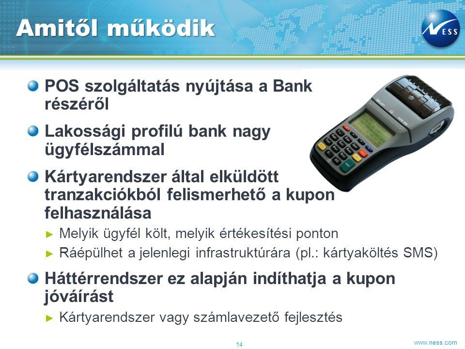 www.ness.com POS szolgáltatás nyújtása a Bank részéről Lakossági profilú bank nagy ügyfélszámmal Kártyarendszer által elküldött tranzakciókból felisme