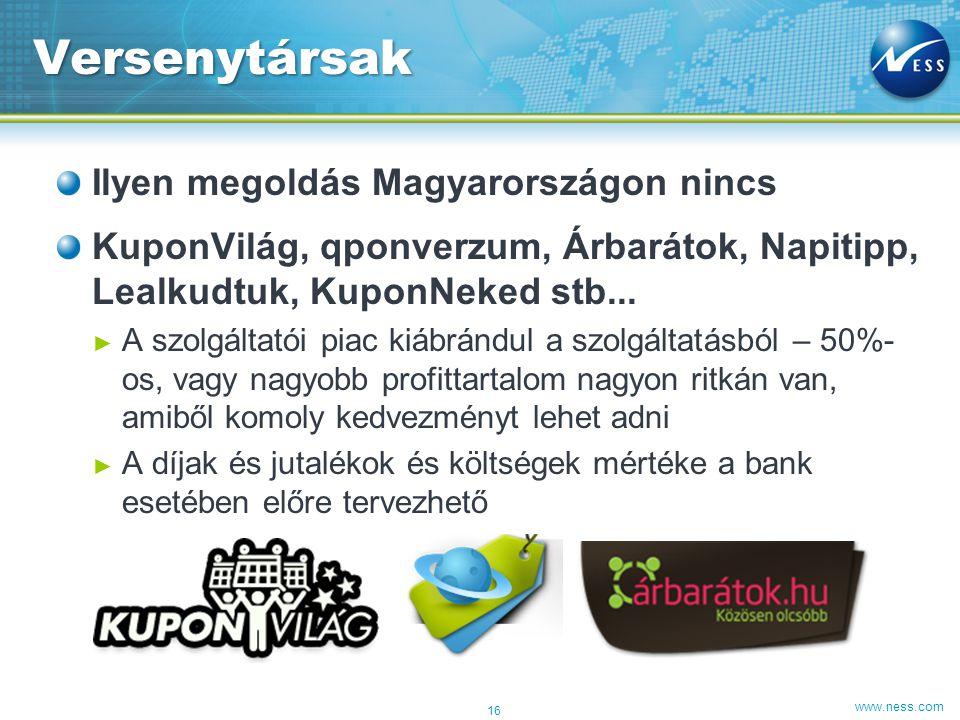 www.ness.com Ilyen megoldás Magyarországon nincs KuponVilág, qponverzum, Árbarátok, Napitipp, Lealkudtuk, KuponNeked stb... ► A szolgáltatói piac kiáb