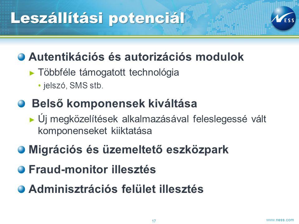 www.ness.com Autentikációs és autorizációs modulok ► Többféle támogatott technológia •jelszó, SMS stb.