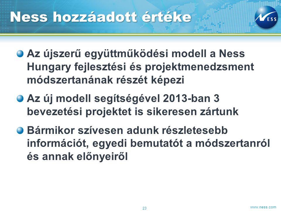 www.ness.com Az újszerű együttműködési modell a Ness Hungary fejlesztési és projektmenedzsment módszertanának részét képezi Az új modell segítségével 2013-ban 3 bevezetési projektet is sikeresen zártunk Bármikor szívesen adunk részletesebb információt, egyedi bemutatót a módszertanról és annak előnyeiről Ness hozzáadott értéke 23