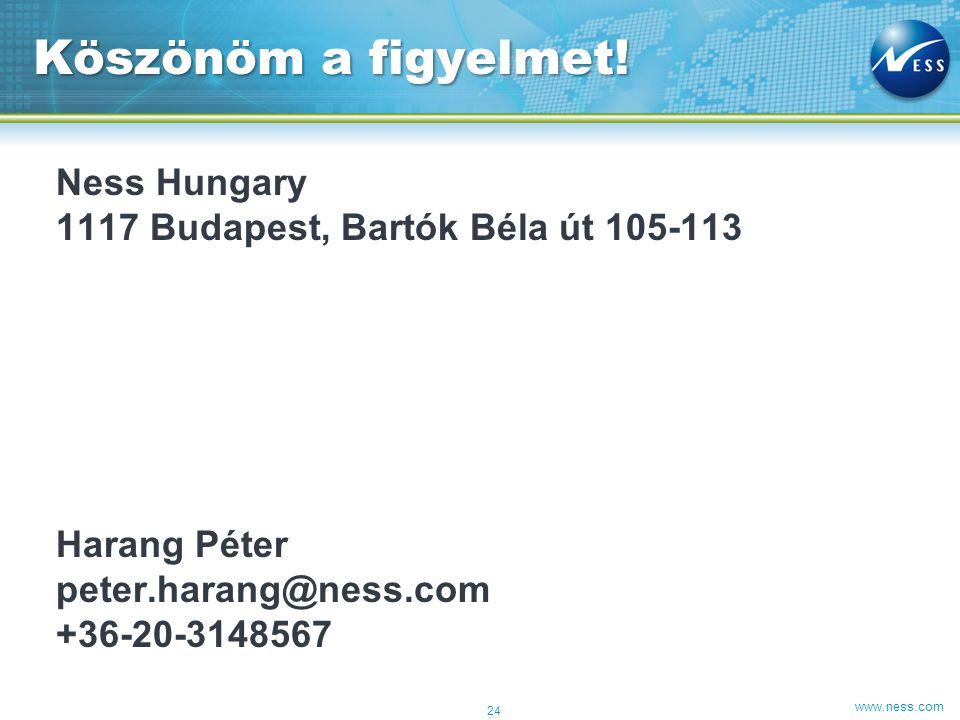 www.ness.com Ness Hungary 1117 Budapest, Bartók Béla út 105-113 Harang Péter peter.harang@ness.com +36-20-3148567 Köszönöm a figyelmet.