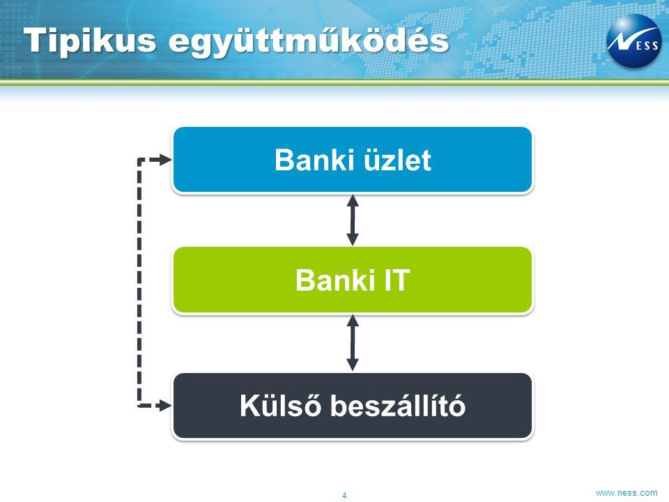 www.ness.com Tipikus együttműködés 4 Banki üzlet Banki IT Külső beszállító