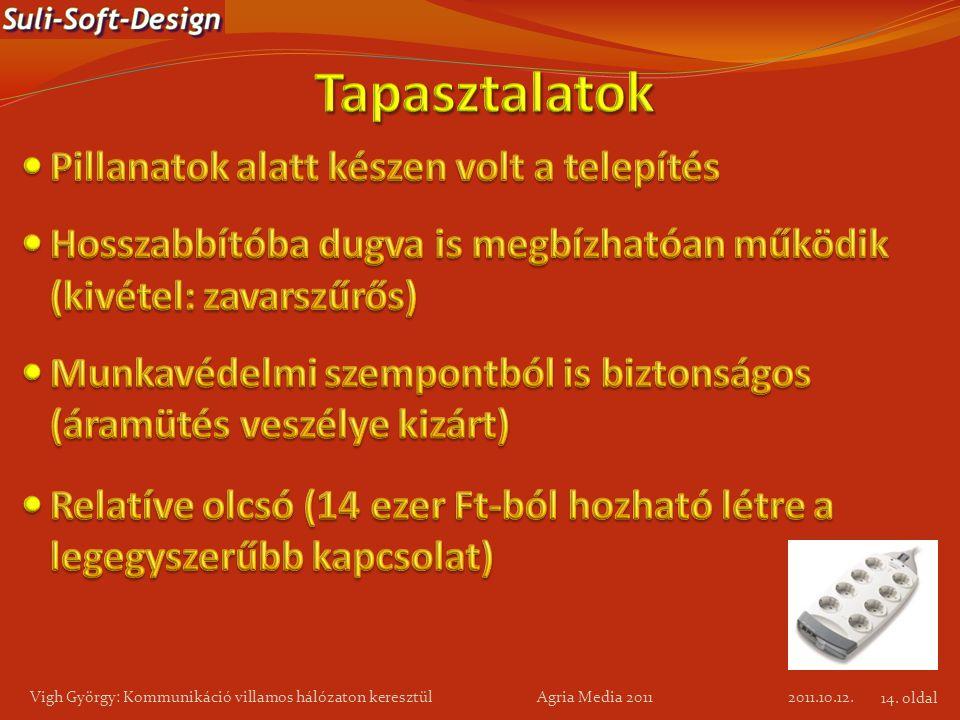 2011.10.12. Vigh György: Kommunikáció villamos hálózaton keresztül Agria Media 2011 14. oldal