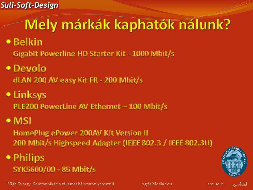 2011.10.12. Vigh György: Kommunikáció villamos hálózaton keresztül Agria Media 2011 15. oldal