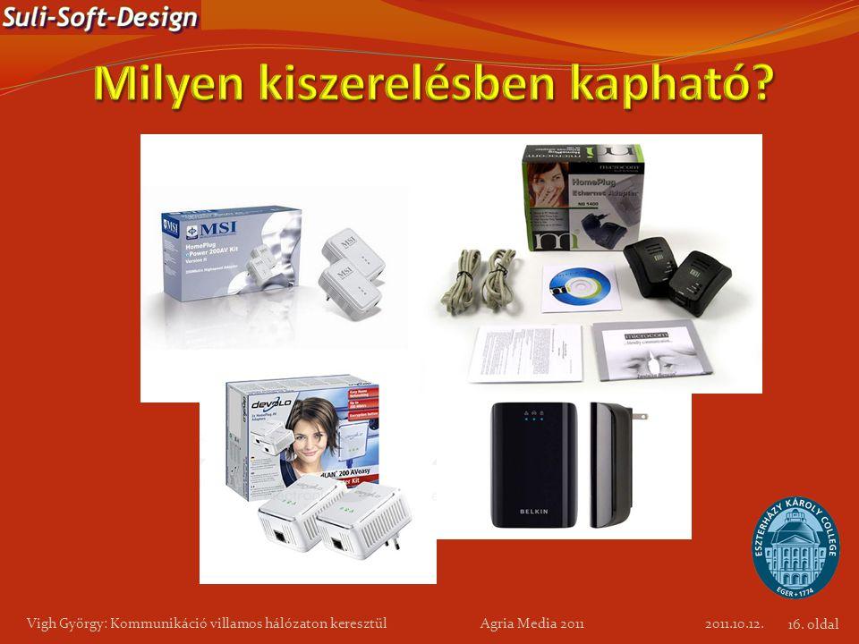 Vigh György: Kommunikáció villamos hálózaton keresztül Agria Media 2011 2011.10.12. 16. oldal