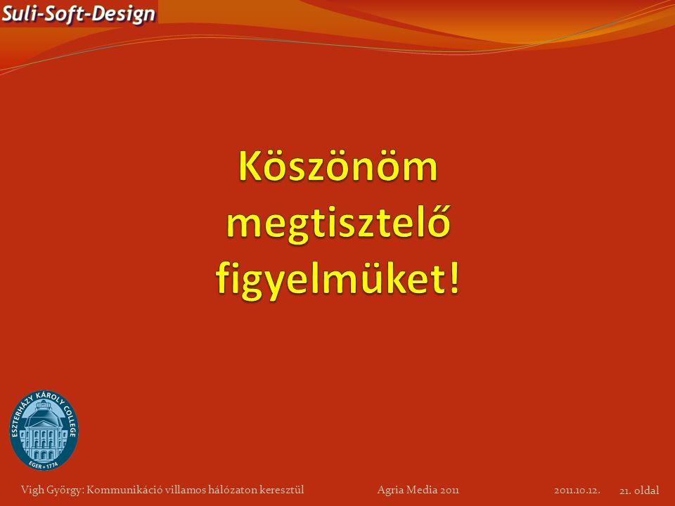 2011.10.12. Vigh György: Kommunikáció villamos hálózaton keresztül Agria Media 2011 21. oldal