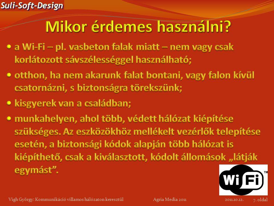 2011.10.12. Vigh György: Kommunikáció villamos hálózaton keresztül Agria Media 2011 7. oldal