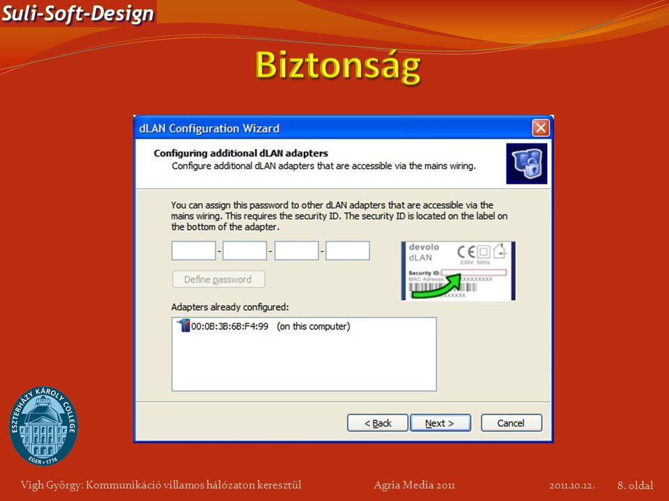 Vigh György: Kommunikáció villamos hálózaton keresztül Agria Media 2011 2011.10.12. 8. oldal