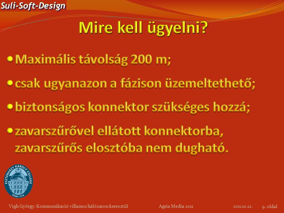 2011.10.12. Vigh György: Kommunikáció villamos hálózaton keresztül Agria Media 2011 9. oldal