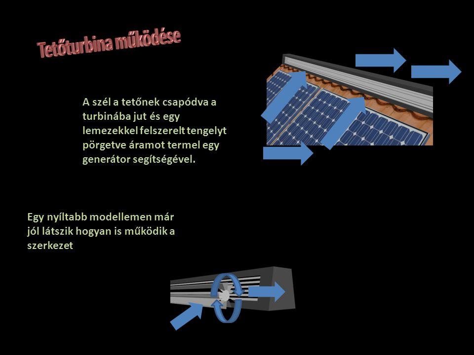A szél a tetőnek csapódva a turbinába jut és egy lemezekkel felszerelt tengelyt pörgetve áramot termel egy generátor segítségével. Egy nyíltabb modell