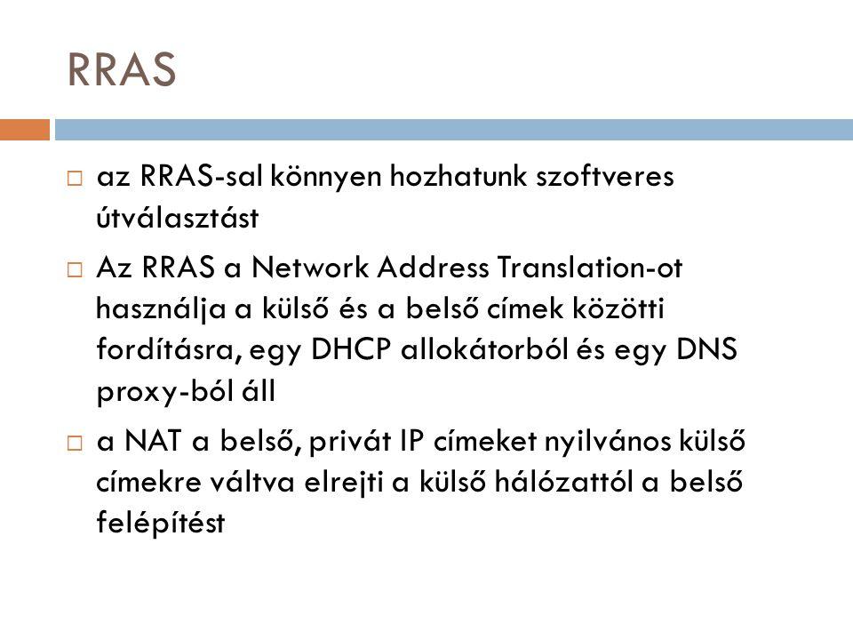 RRAS  az RRAS-sal könnyen hozhatunk szoftveres útválasztást  Az RRAS a Network Address Translation-ot használja a külső és a belső címek közötti for