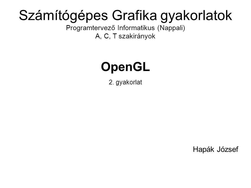 Uniform változók  Először meg kell tudnunk az OpenGL-es azonosítóját a uniform változónak:  GLuint mvpInShader = glGetUniformLocation( programHandle, MVP );  Ezután már típusának megfelelő fv-vel értéket adhatunk neki:  GlUniformMatrix4fv( mvpInShader, 1, GL_FALSE, &app_mvp[0][0]);  Többiek: http://www.opengl.org/sdk/docs/man/xhtml/glUnifo rm.xml http://www.opengl.org/sdk/docs/man/xhtml/glUnifo rm.xml