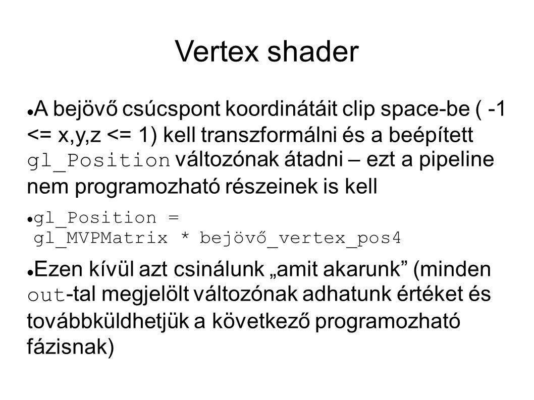 Vertex shader  A bejövő csúcspont koordinátáit clip space-be ( -1 <= x,y,z <= 1) kell transzformálni és a beépített gl_Position változónak átadni – e