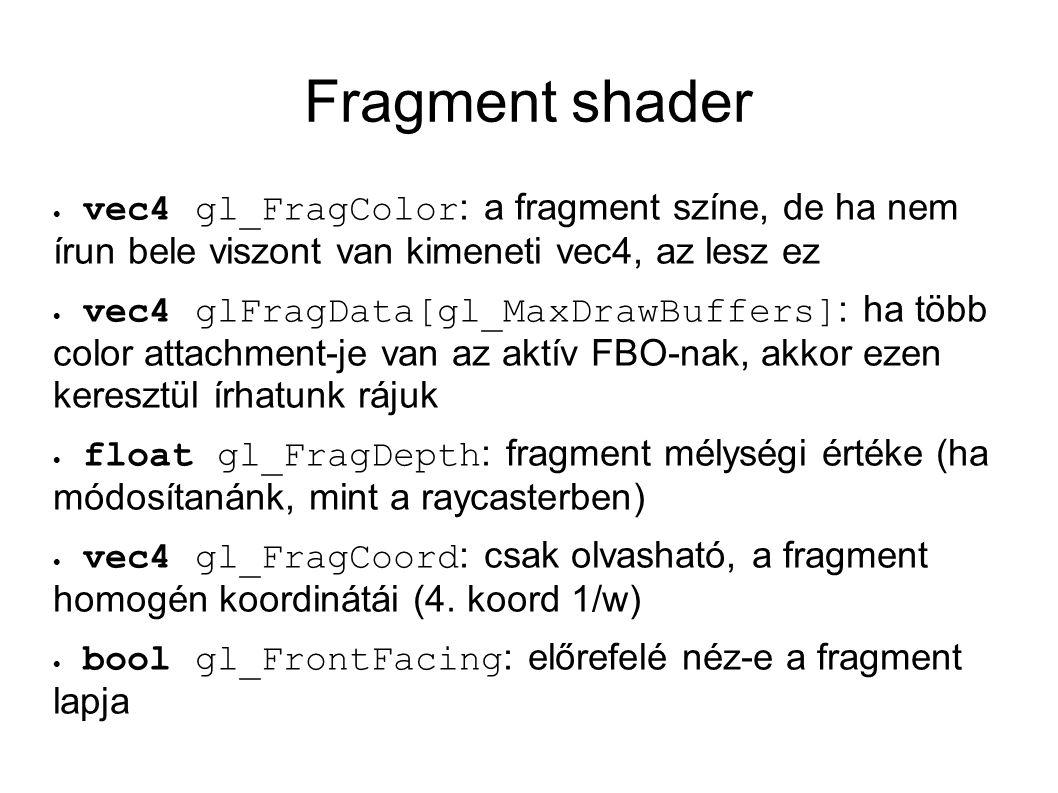 Fragment shader  vec4 gl_FragColor : a fragment színe, de ha nem írun bele viszont van kimeneti vec4, az lesz ez  vec4 glFragData[gl_MaxDrawBuffers]