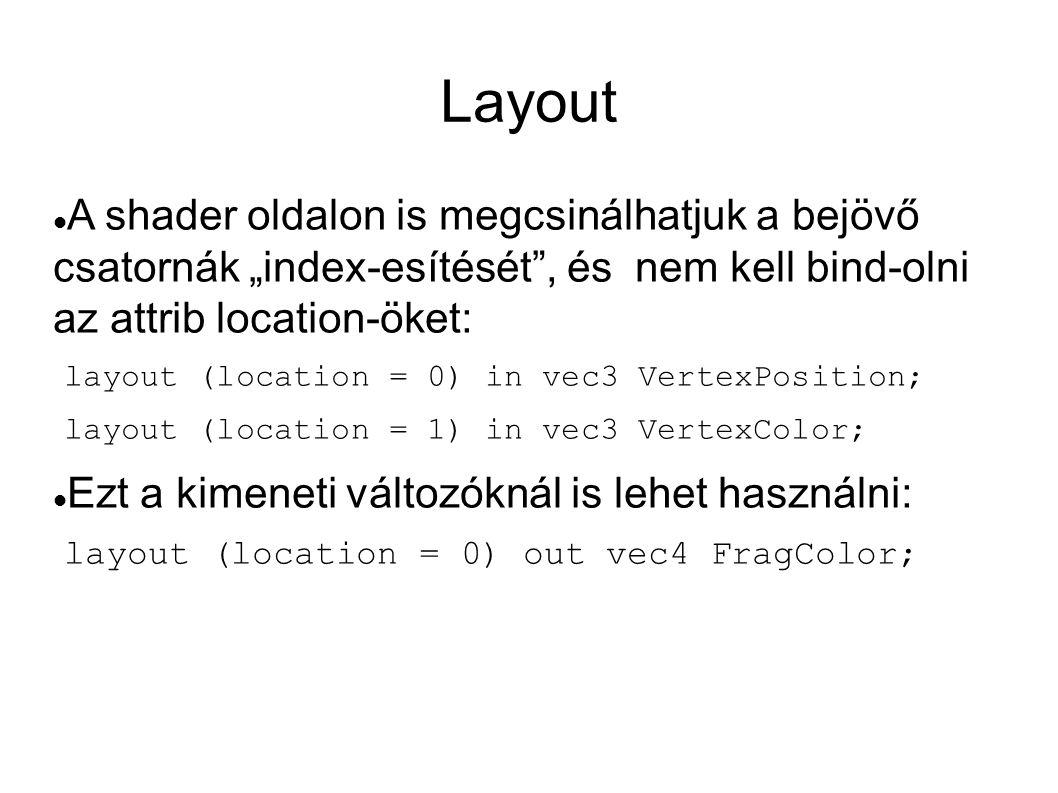 """Layout  A shader oldalon is megcsinálhatjuk a bejövő csatornák """"index-esítését"""", és nem kell bind-olni az attrib location-öket: layout (location = 0)"""