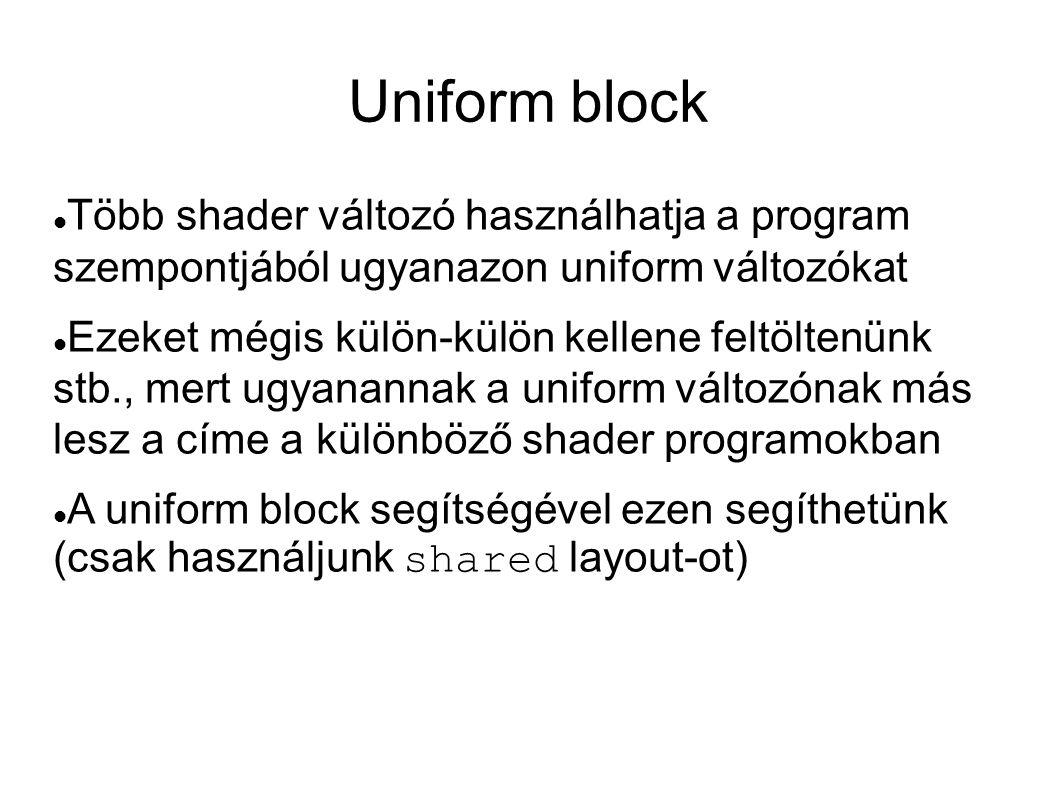 Uniform block  Több shader változó használhatja a program szempontjából ugyanazon uniform változókat  Ezeket mégis külön-külön kellene feltöltenünk
