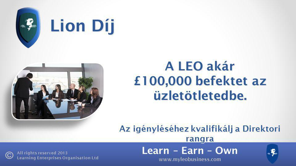 Learn – Earn – Own   All rights reserved 2013 Learning Enterprises Organisation Ltd Lion Díj A LEO akár £100,000 befektet az üzletötletedbe.