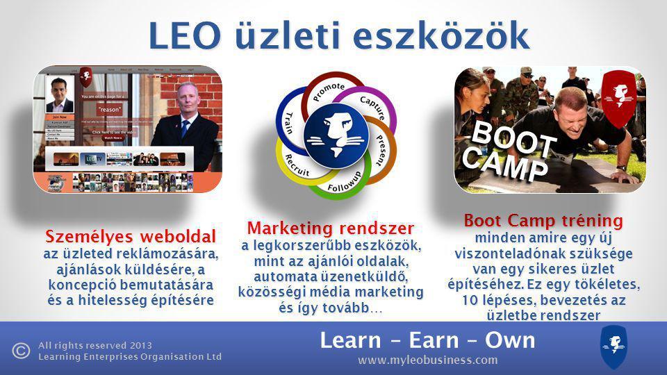 Learn – Earn – Own www.myleobusiness.com All rights reserved 2013 Learning Enterprises Organisation Ltd LEO üzleti eszközök Személyes weboldal az üzleted reklámozására, ajánlások küldésére, a koncepció bemutatására és a hitelesség építésére Marketing rendszer a legkorszer ű bb eszközök, mint az ajánlói oldalak, automata üzenetküld ő, közösségi média marketing és így tovább… Boot Camp tréning minden amire egy új viszonteladónak szüksége van egy sikeres üzlet építéséhez.