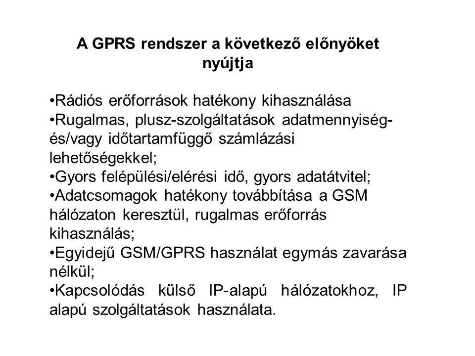 A GPRS rendszer a következő előnyöket nyújtja •Rádiós erőforrások hatékony kihasználása •Rugalmas, plusz-szolgáltatások adatmennyiség- és/vagy időtartamfüggő számlázási lehetőségekkel; •Gyors felépülési/elérési idő, gyors adatátvitel; •Adatcsomagok hatékony továbbítása a GSM hálózaton keresztül, rugalmas erőforrás kihasználás; •Egyidejű GSM/GPRS használat egymás zavarása nélkül; •Kapcsolódás külső IP-alapú hálózatokhoz, IP alapú szolgáltatások használata.