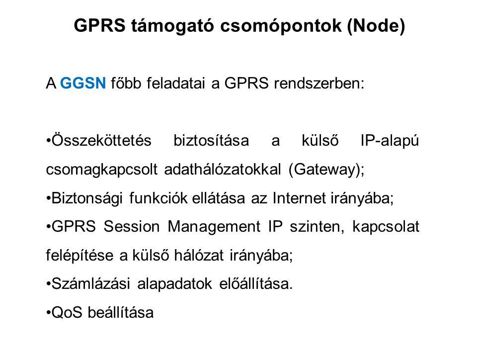 GPRS támogató csomópontok (Node) A GGSN főbb feladatai a GPRS rendszerben: •Összeköttetés biztosítása a külső IP-alapú csomagkapcsolt adathálózatokkal (Gateway); •Biztonsági funkciók ellátása az Internet irányába; •GPRS Session Management IP szinten, kapcsolat felépítése a külső hálózat irányába; •Számlázási alapadatok előállítása.