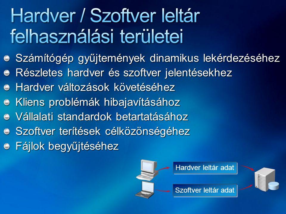 Számítógép gyűjtemények dinamikus lekérdezéséhez Részletes hardver és szoftver jelentésekhez Hardver változások követéséhez Kliens problémák hibajavít
