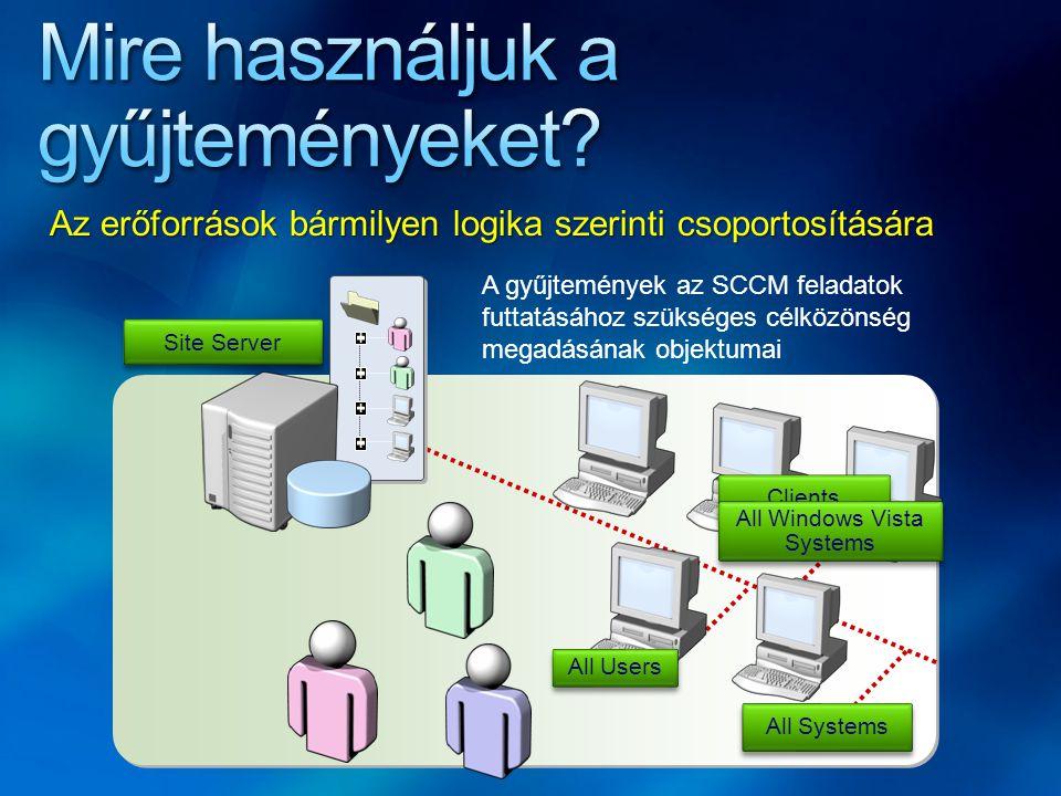 Site Server Clients All Windows Vista Systems All Users All Systems A gyűjtemények az SCCM feladatok futtatásához szükséges célközönség megadásának ob