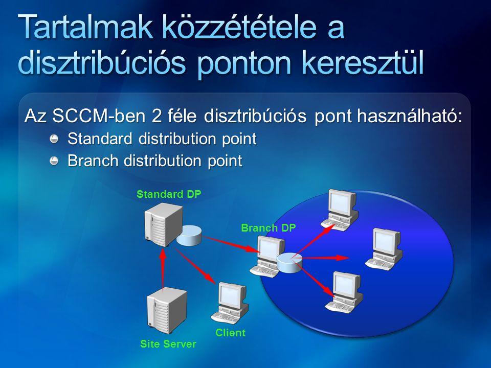 Standard DP Site Server Branch DP Client Az SCCM-ben 2 féle disztribúciós pont használható: Standard distribution point Standard distribution point Br