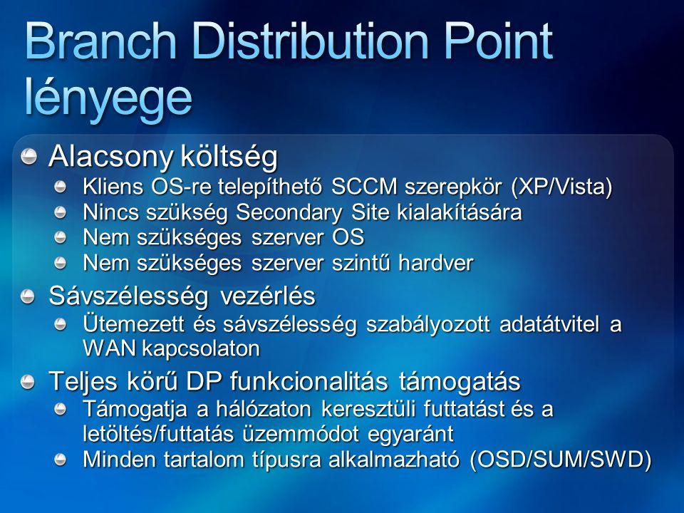 Alacsony költség Kliens OS-re telepíthető SCCM szerepkör (XP/Vista) Nincs szükség Secondary Site kialakítására Nem szükséges szerver OS Nem szükséges
