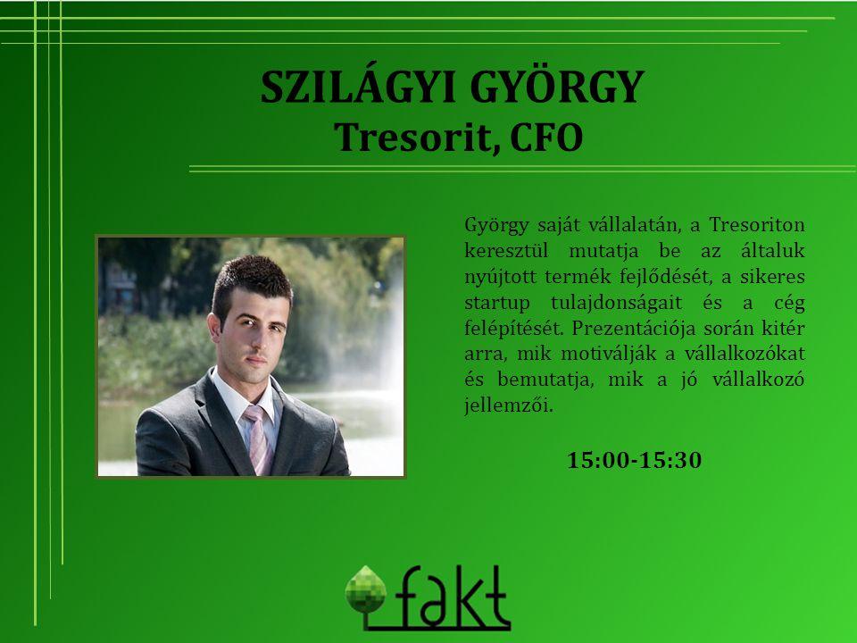 SZILÁGYI GYÖRGY György saját vállalatán, a Tresoriton keresztül mutatja be az általuk nyújtott termék fejlődését, a sikeres startup tulajdonságait és