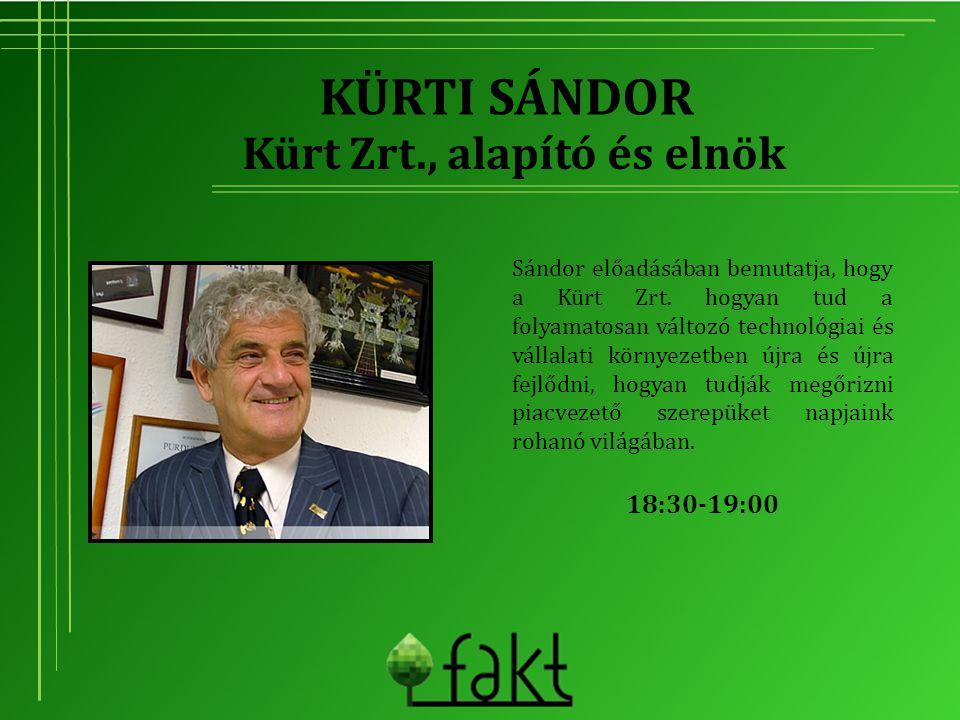 KÜRTI SÁNDOR Sándor előadásában bemutatja, hogy a Kürt Zrt. hogyan tud a folyamatosan változó technológiai és vállalati környezetben újra és újra fejl