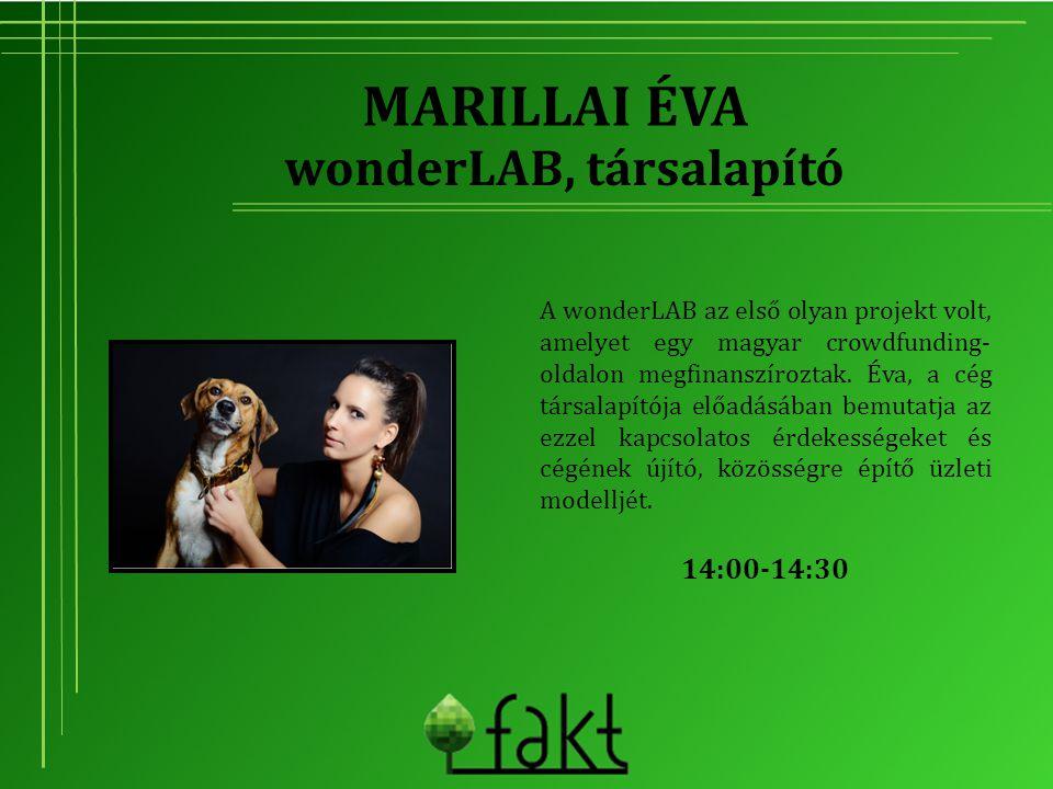 MARILLAI ÉVA A wonderLAB az első olyan projekt volt, amelyet egy magyar crowdfunding- oldalon megfinanszíroztak. Éva, a cég társalapítója előadásában