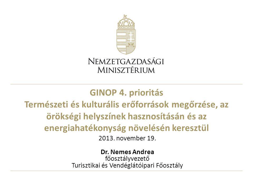 GINOP 4. prioritás Természeti és kulturális erőforrások megőrzése, az örökségi helyszínek hasznosításán és az energiahatékonyság növelésén keresztül 2
