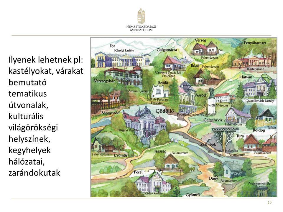 10 Ilyenek lehetnek pl: kastélyokat, várakat bemutató tematikus útvonalak, kulturális világörökségi helyszínek, kegyhelyek hálózatai, zarándokutak