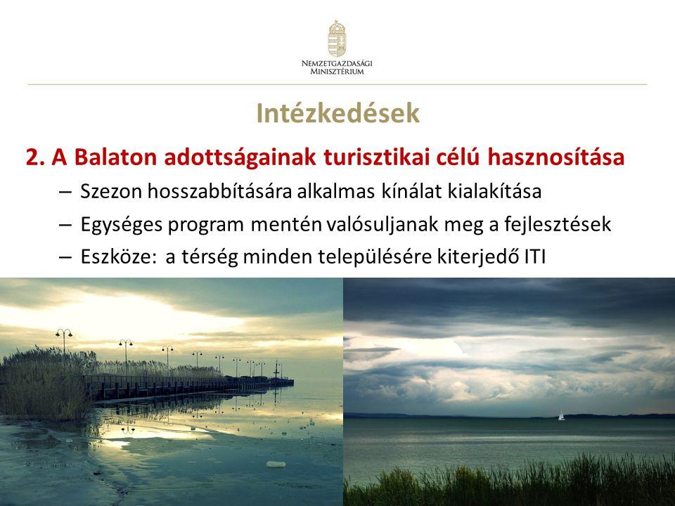 15 Intézkedések 2. A Balaton adottságainak turisztikai célú hasznosítása – Szezon hosszabbítására alkalmas kínálat kialakítása – Egységes program ment