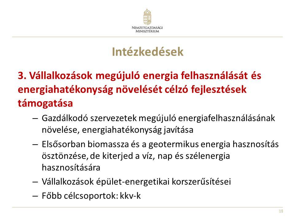 18 Intézkedések 3. Vállalkozások megújuló energia felhasználását és energiahatékonyság növelését célzó fejlesztések támogatása – Gazdálkodó szervezete