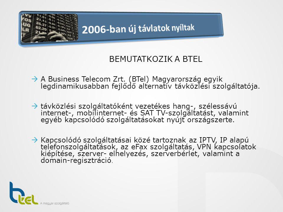BEMUTATKOZIK A BTEL  A Business Telecom Zrt. (BTel) Magyarország egyik legdinamikusabban fejlődő alternatív távközlési szolgáltatója.  távközlési sz