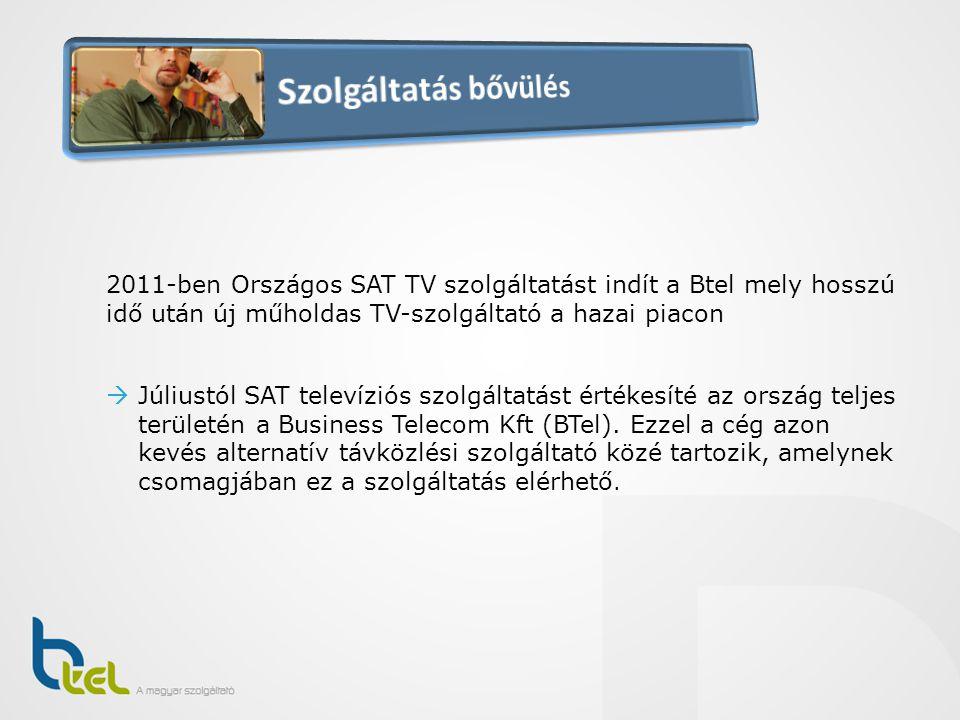 2011-ben Országos SAT TV szolgáltatást indít a Btel mely hosszú idő után új műholdas TV-szolgáltató a hazai piacon  Júliustól SAT televíziós szolgált